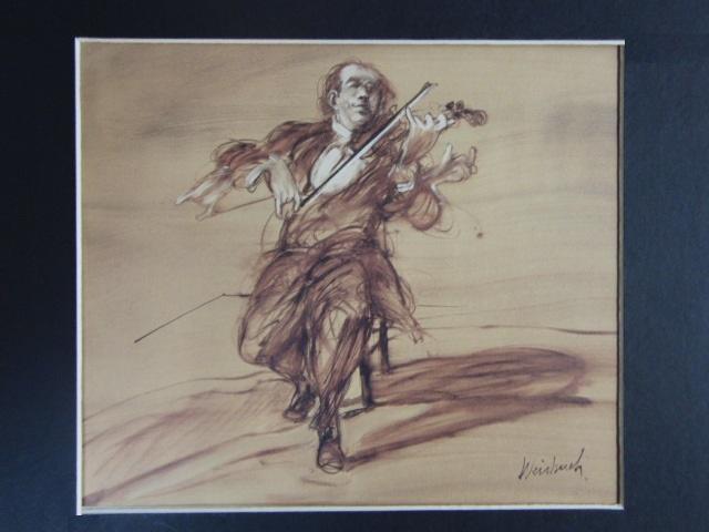 クロード・ワイズバッシュ、【バイオリニスト】、貴重な画集画、新品高級額・額装付、状態良好、送料無料、洋画_画像3