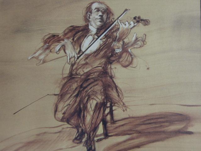 クロード・ワイズバッシュ、【バイオリニスト】、貴重な画集画、新品高級額・額装付、状態良好、送料無料、洋画_画像1