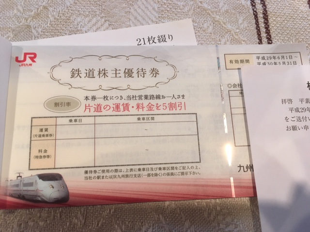 JR九州 株主優待券21枚綴り+株主サービス券5枚綴り ※平成30年 5/31まで有効