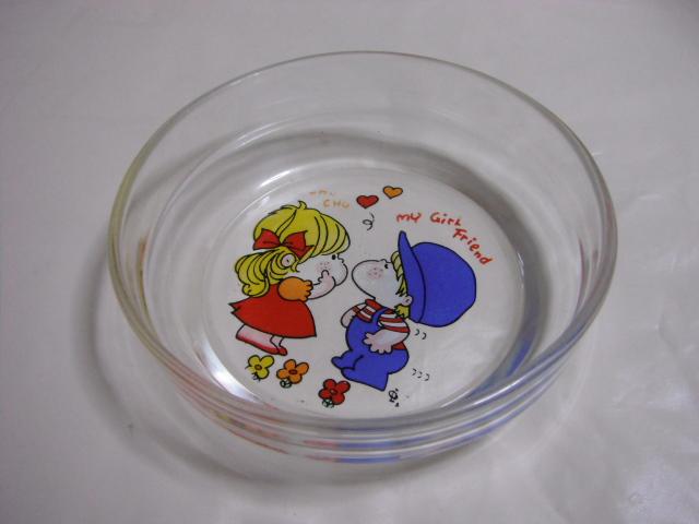 水森亜土 古いガラス 鉢/皿 レトロ アンティーク 当時物_画像1
