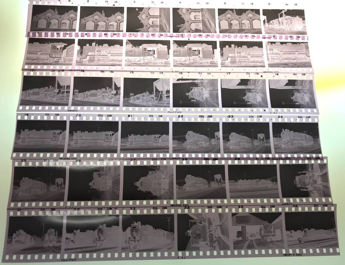 *古い鉄道写真 ネガフィルム 36枚 昭和49年 行橋機関区 若松機関区 蒸気機関車 福岡県 C11 29612 19636 D51 D60 SL 国鉄