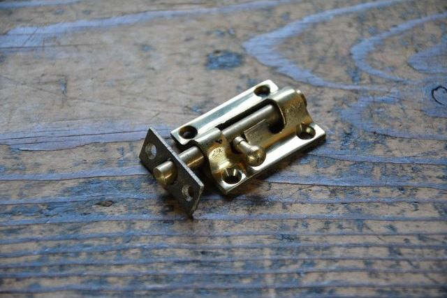 NO.7022 古い真鍮鋳物のラッチ 36mm 検索用語→A50gアンティークビンテージ古道具真鍮金物扉ドア引き戸ケビント_画像4