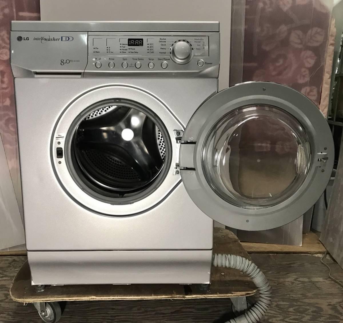 稀少モデル 欧米デザインドラム式洗濯機 WD-D84S 洗濯8kg 乾燥4kg シルバー デザイン家電 インテリア 目黒区発_画像2