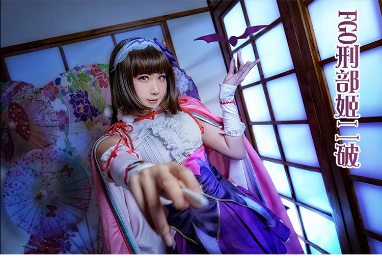 豪華版FGO Fate/GrandOrder 刑部姫 メガネ 靴下*手袋髪*飾り付き☆コスプレ衣装_画像1