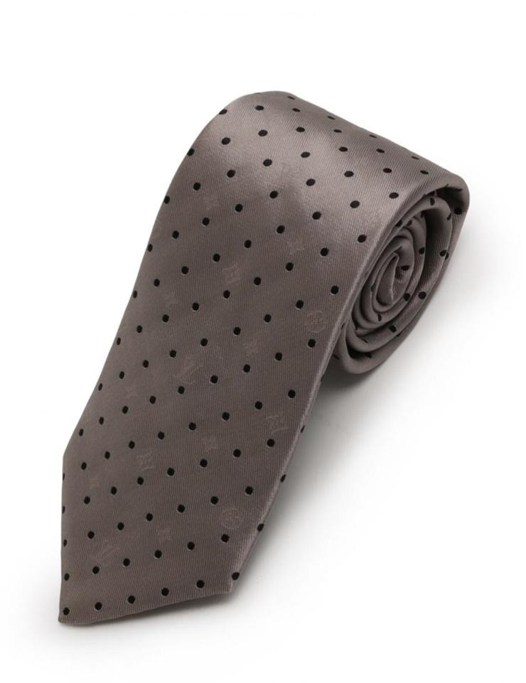 【New unused exhibit] Louis Vuitton tie M74131 silk gray black dot monogram pattern apparel fashion accessories【genuine warranty]