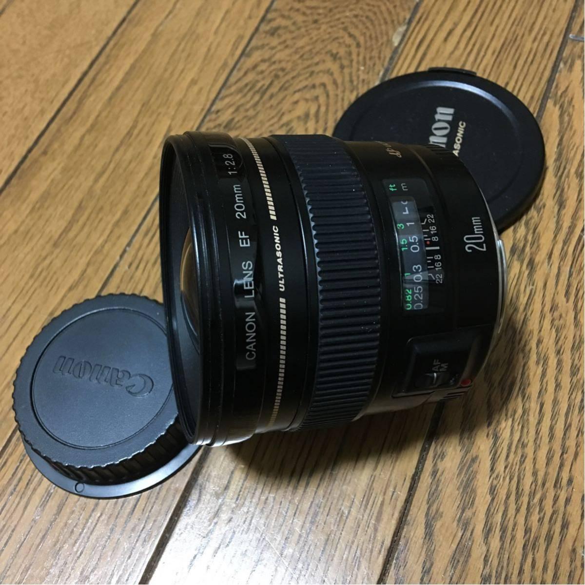 Canon LENS EF 20mm 1:2.8 ULTRASONIC USM 動作も写りもOKです。 わりとキレイです。前後キャップ付きです。