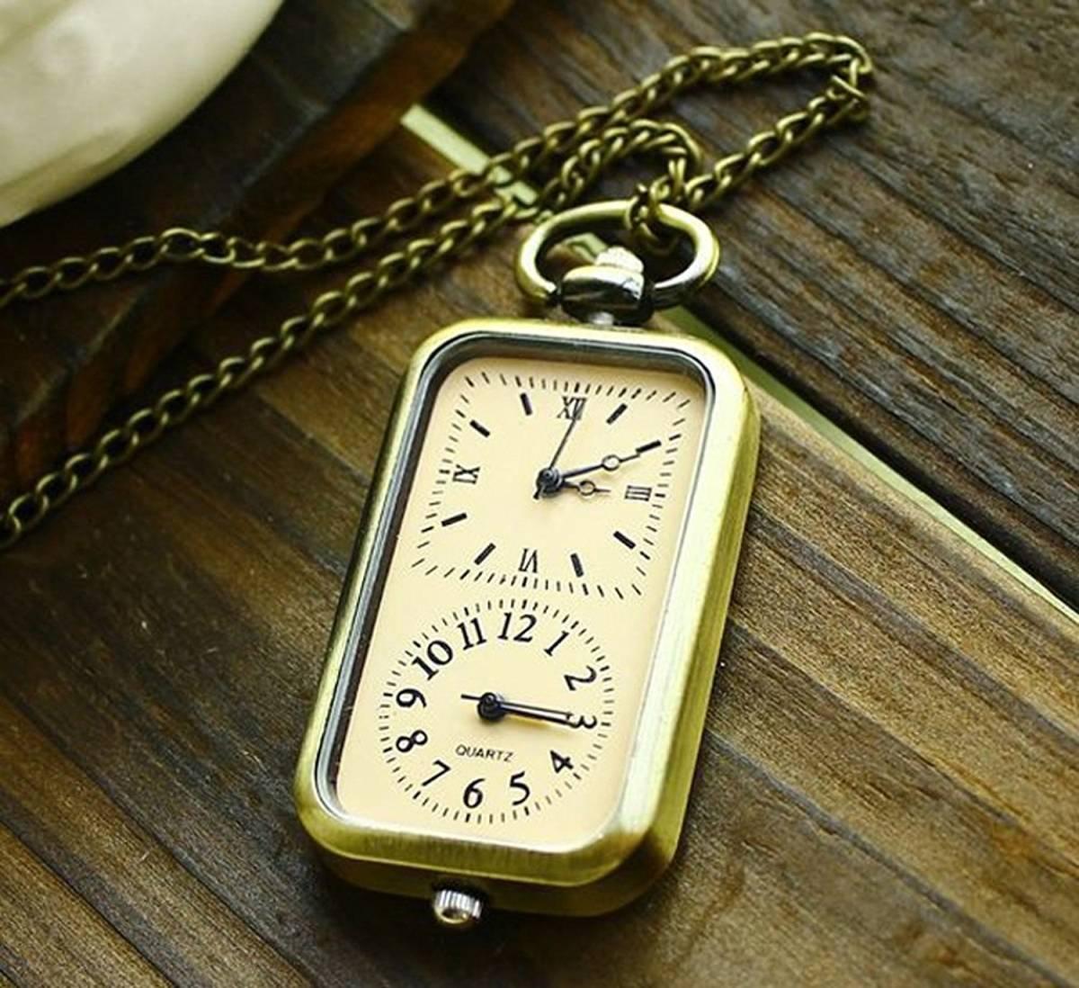 送料無料1円 新品 ヴィンテージスタイル 青銅石英 懐中時計 ダブルタイムゾーン 移動ネックレスペンダントチェーン