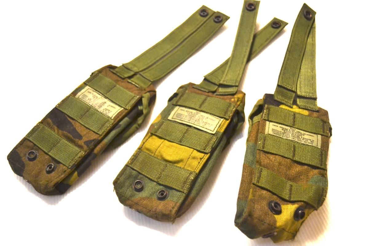 米軍放出品 実物 USMC 米海兵隊 US ARMY ウッドランド 迷彩 M4 M16 5.56mm 30連 シングルマガジンポーチ 3つセット_画像3