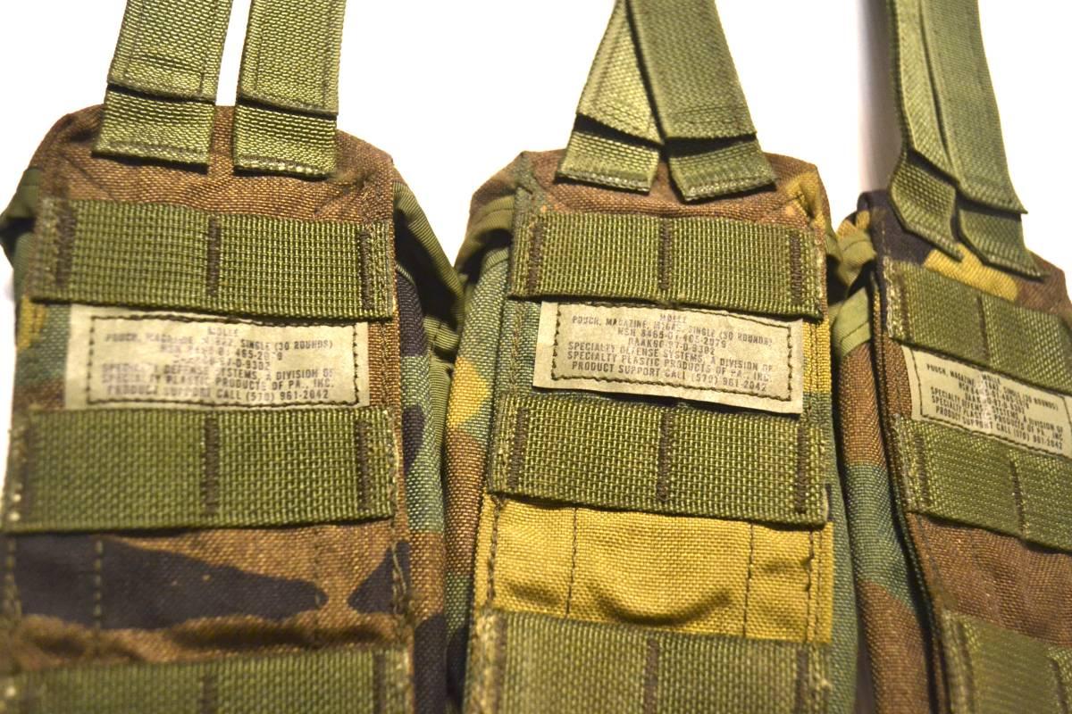 米軍放出品 実物 USMC 米海兵隊 US ARMY ウッドランド 迷彩 M4 M16 5.56mm 30連 シングルマガジンポーチ 3つセット_画像4