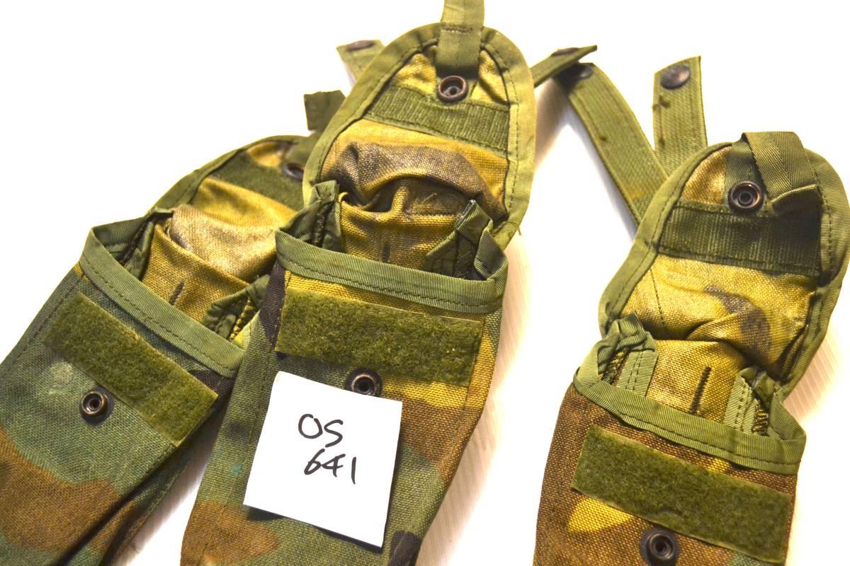 米軍放出品 実物 USMC 米海兵隊 US ARMY ウッドランド 迷彩 M4 M16 5.56mm 30連 シングルマガジンポーチ 3つセット_画像5