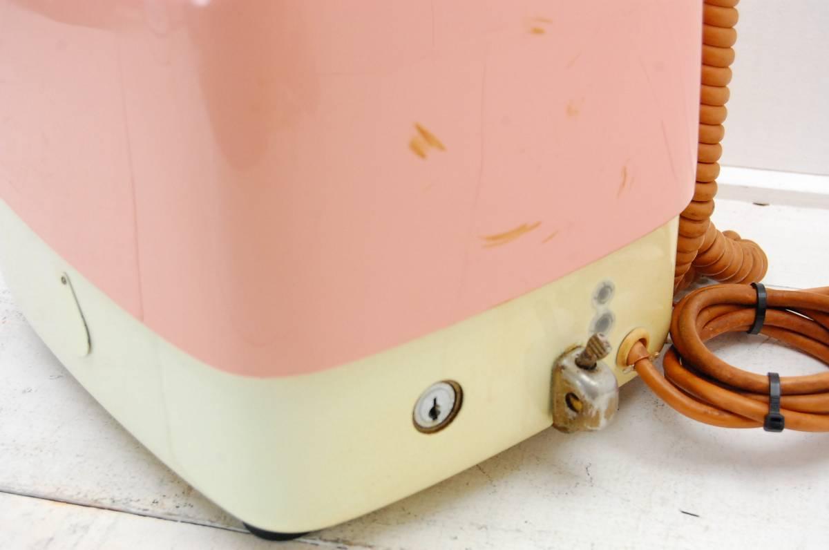 NTT ダイヤル式 ピンク公衆電話 10円玉専用 昭和レトロ ジャンク 京都旧家_画像6