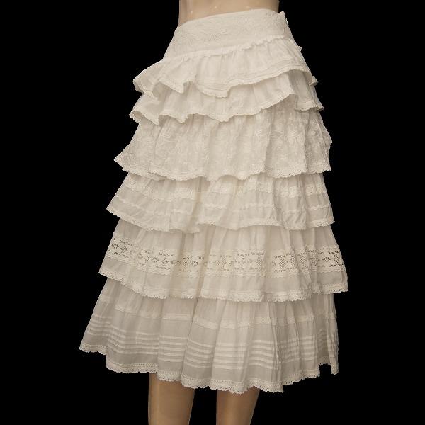 N新品同様☆ロイスクレヨン*Lois CRAYON★白★華やかコットンレース&お花刺繍★豪華なたっぷりティアードスカート★Mサイズ(38号*9号)_存在感のあるティアードスカートです★