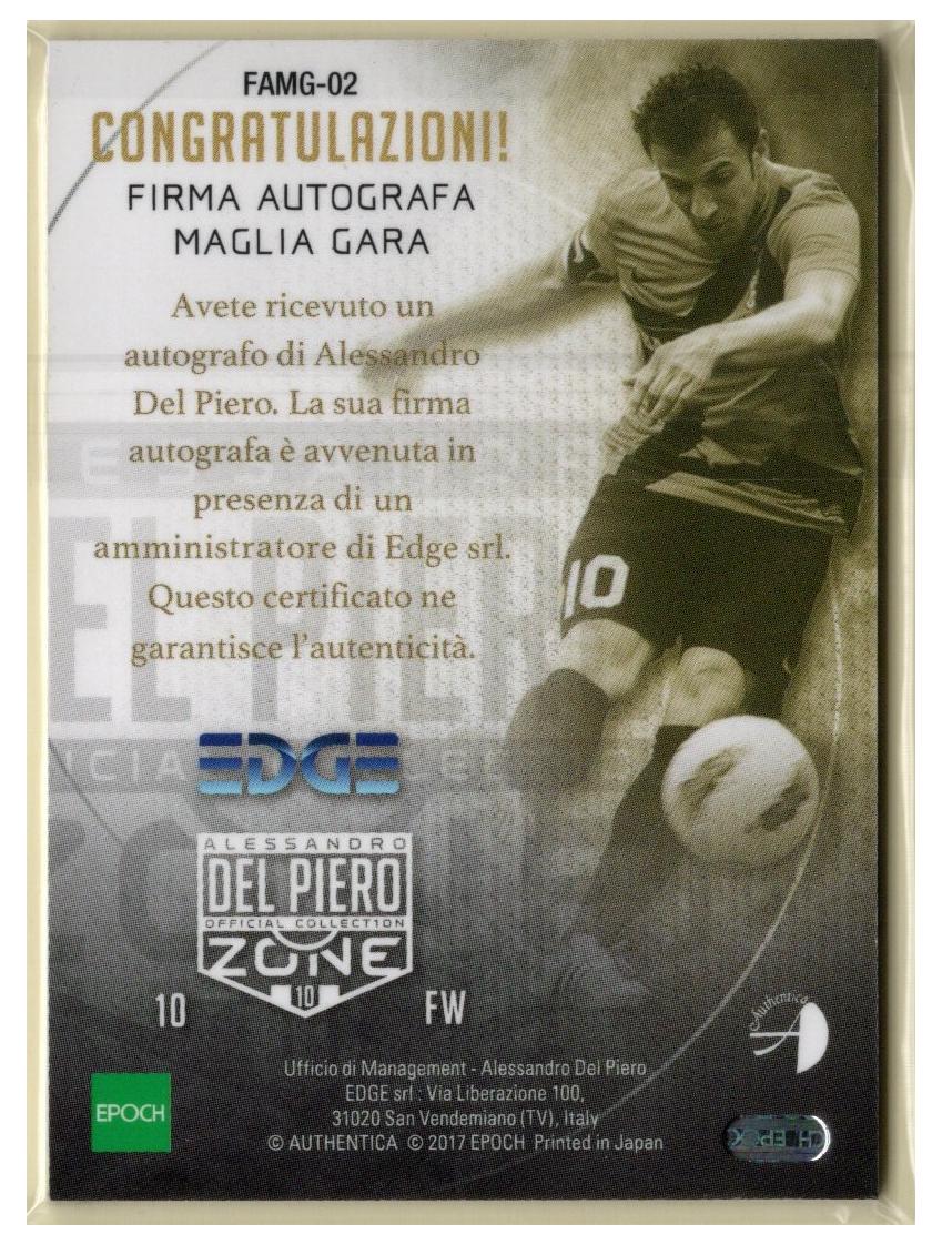2017 EPOCH Del Piero Zone デル・ピエロ 直筆サインジャージーカード Auto ユヴェントス 6/11 FAMG-02_画像2