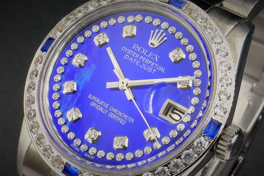 新品仕上げ、ロレックス デイトジャスト Rolex Datejust サファイアMOPブルー豪華ダイヤ & サファイア 1601 Cal.1570 OH済1年保証