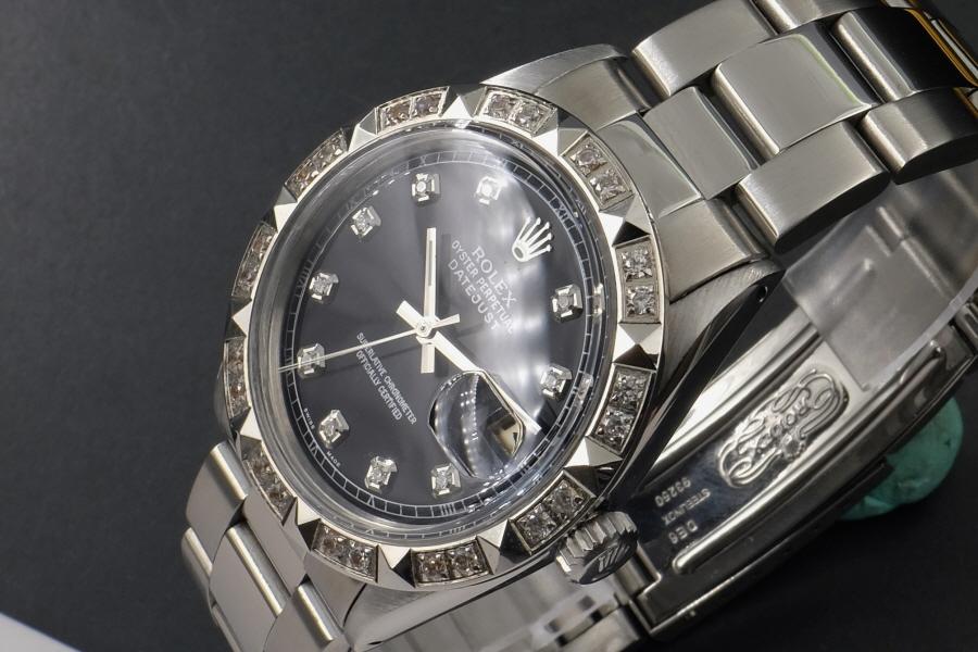 新品仕上げ、ロレックス デイトジャスト Rolex Datejust ブラック 10P ダイヤ & CL ダイヤ 1601 Cal.1570 OH済1年保証_画像2