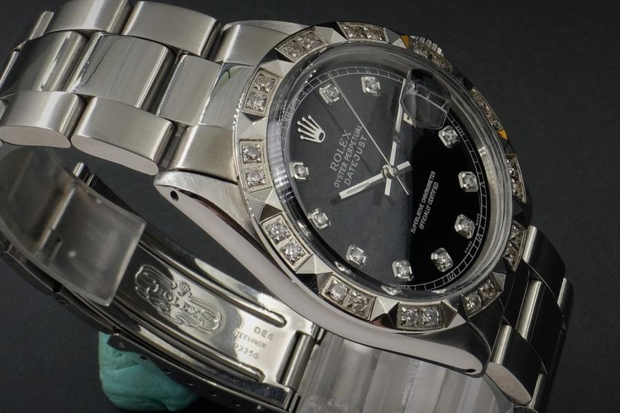 新品仕上げ、ロレックス デイトジャスト Rolex Datejust ブラック 10P ダイヤ & CL ダイヤ 1601 Cal.1570 OH済1年保証_画像3