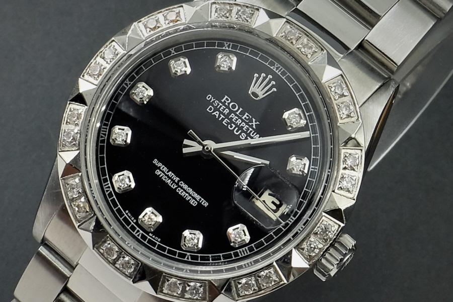 新品仕上げ、ロレックス デイトジャスト Rolex Datejust ブラック 10P ダイヤ & CL ダイヤ 1601 Cal.1570 OH済1年保証