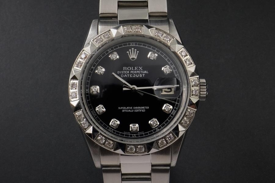 新品仕上げ、ロレックス デイトジャスト Rolex Datejust ブラック 10P ダイヤ & CL ダイヤ 1601 Cal.1570 OH済1年保証_画像5