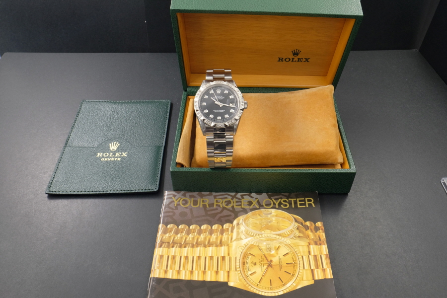 新品仕上げ、ロレックス デイトジャスト Rolex Datejust ブラック 10P ダイヤ & CL ダイヤ 1601 Cal.1570 OH済1年保証_画像10
