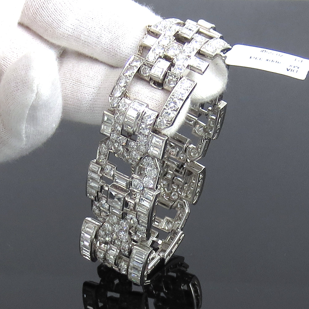 アンティーク《33ct ダイヤモンドGH/VSヨーロピアン&ステップカット》プラチナ・ブレスレット_画像8