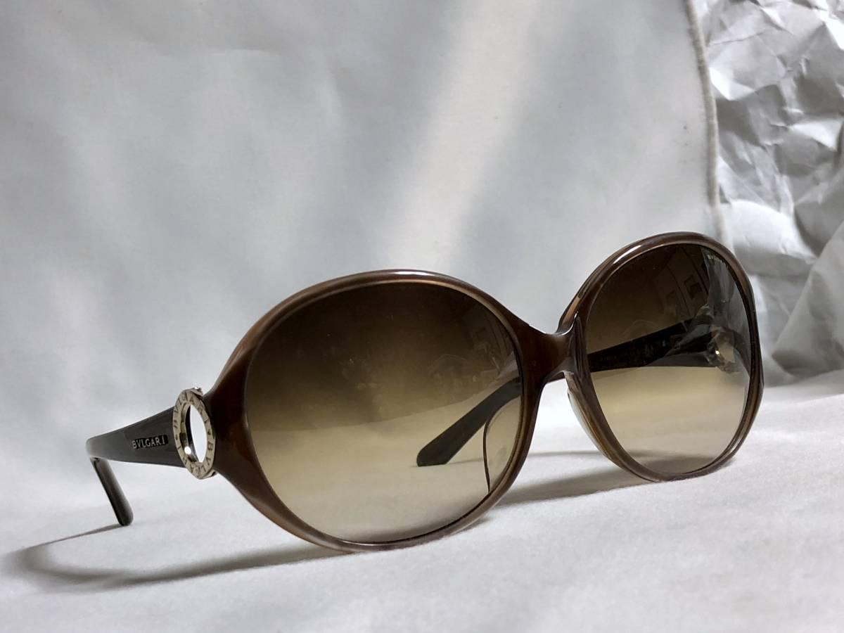 正規美 BVLGARIブルガリ B-zeroオーバルリングアイコン×ブランドロゴ文字サングラス茶 ブラウングラデーション×ライトゴールド 付属有〇_レンズを入れ替えて眼鏡にしても〇