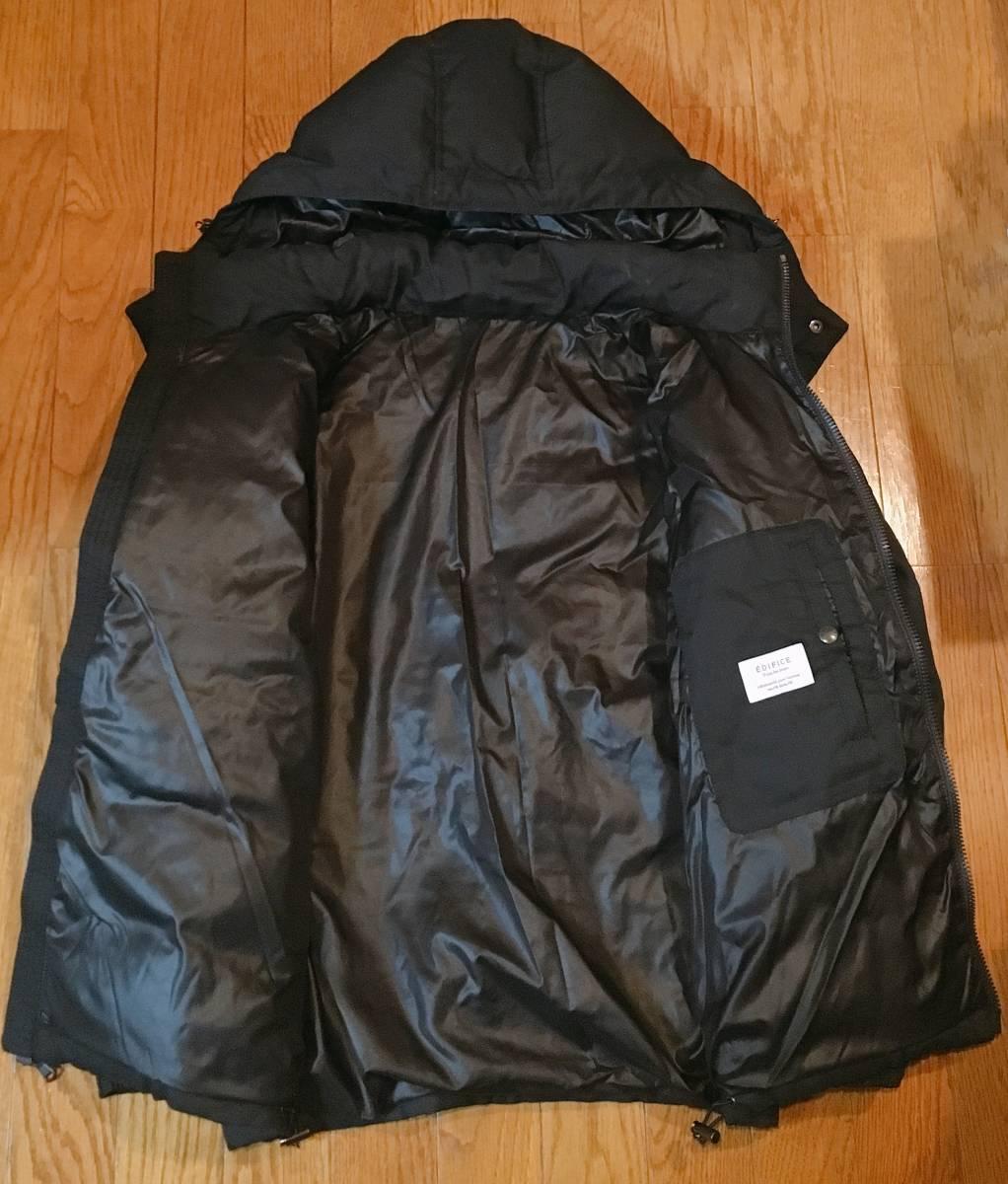 【EDIFICE エディフィス】 上質ダブルジップ式 ダウンジャケット 美しいシルエット スタイリッシュ ブラック46_画像7