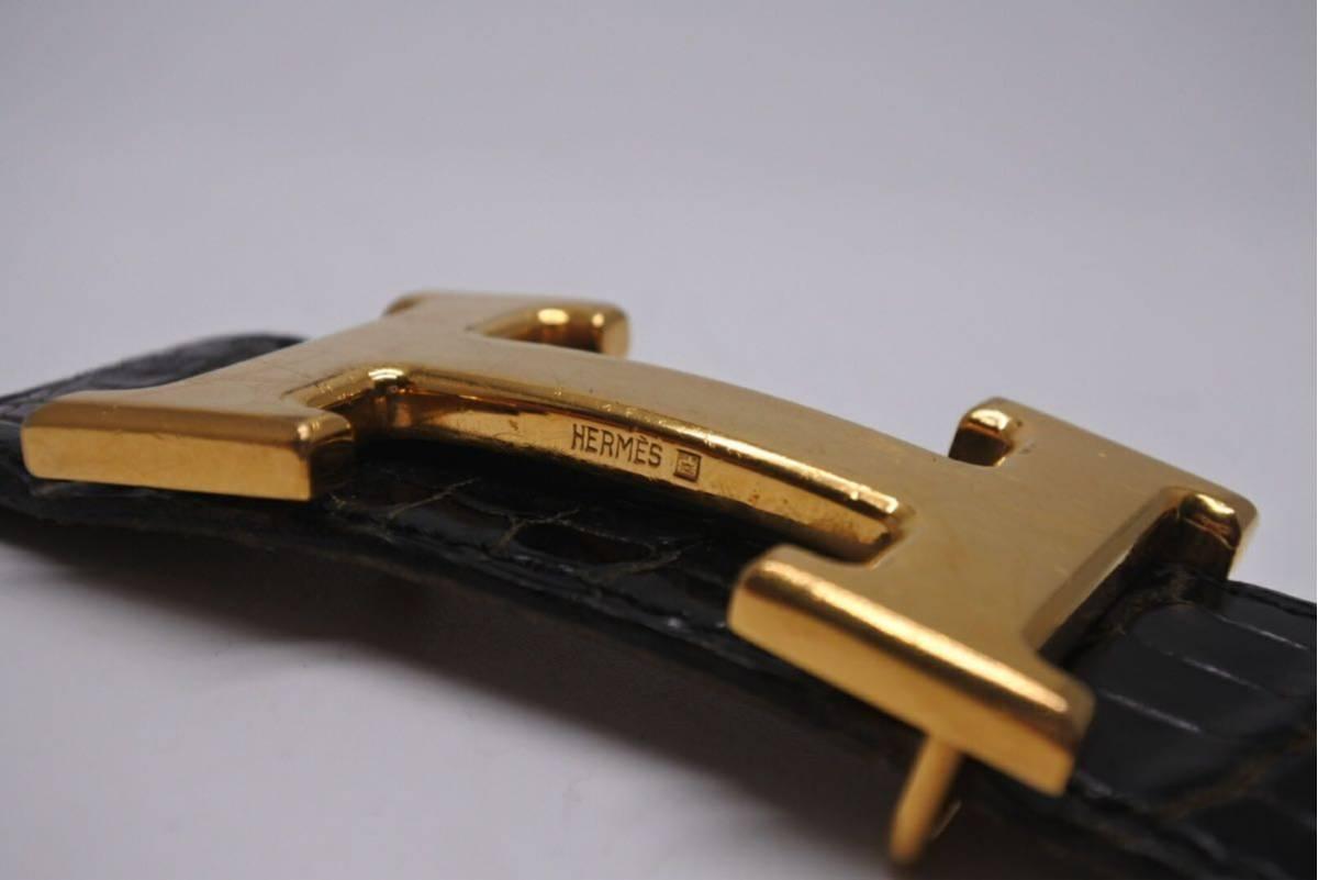 5ba4cabe110b エルメス クロコダイル コンスタンス ブラック 95 メンズ ○S 中古 希少サイズ 国内最安 ベルト ダメージ有り 正規品