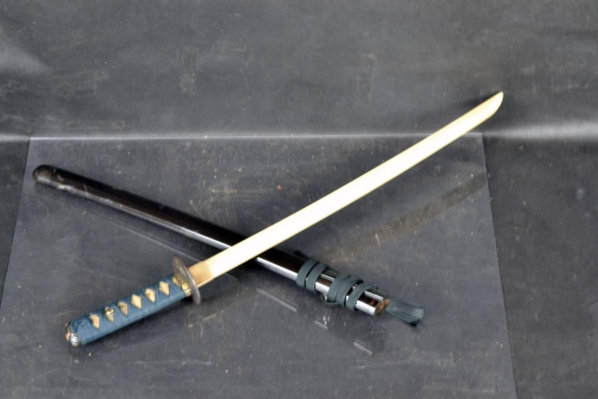 時代物 日本刀 脇差 拵 鍔 鞘 小柄 笄 目貫 竹光刀 長さ67cm 鮫皮 刀装具 武具 象嵌