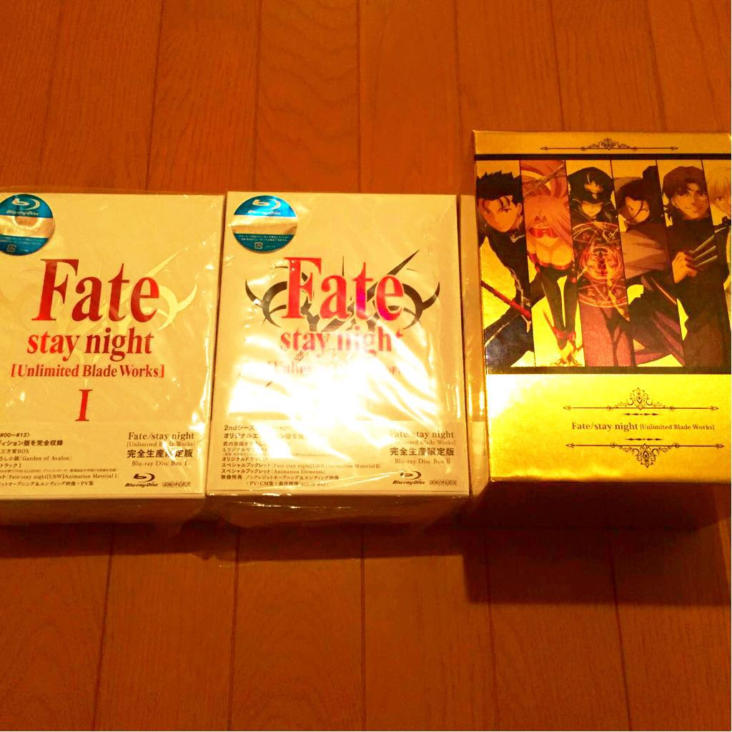 美品 Fate/staynight 〔Unlimited Blade Works〕Blu-ray 完全生産限定版 I &IIセット +限定 BOX