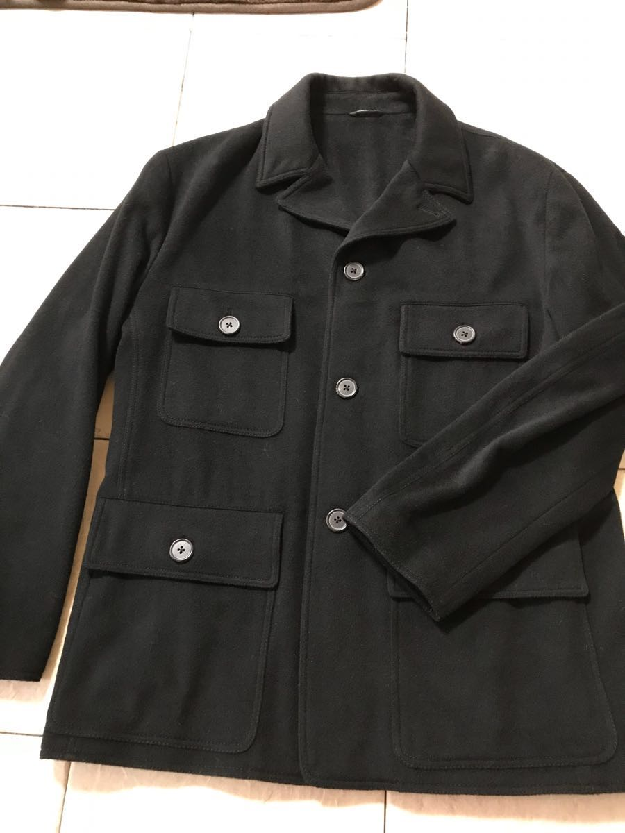 エルメス カシミアのジャケットコート 黒 52