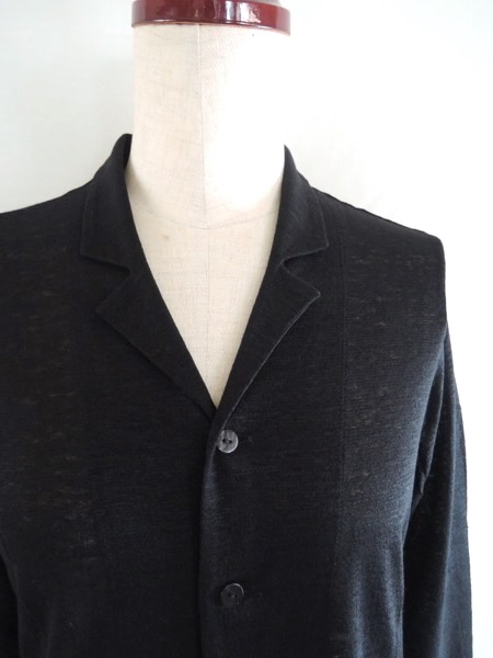 JURGEN LEHLヨーガンレール コットンリネン天竺 羽織 カーディガン ジャケット オーバーシャツ 黒 サイズM_画像2