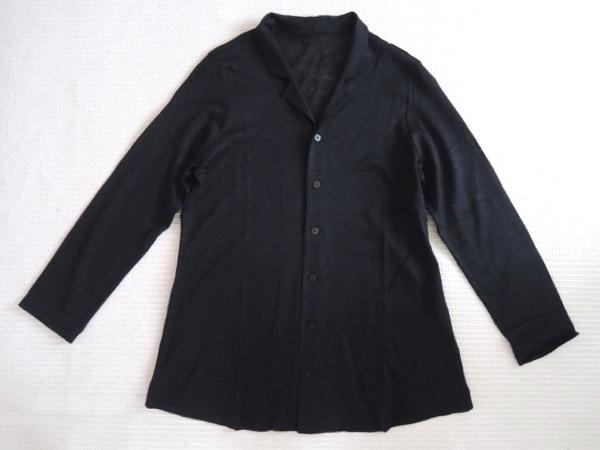 JURGEN LEHLヨーガンレール コットンリネン天竺 羽織 カーディガン ジャケット オーバーシャツ 黒 サイズM_画像6