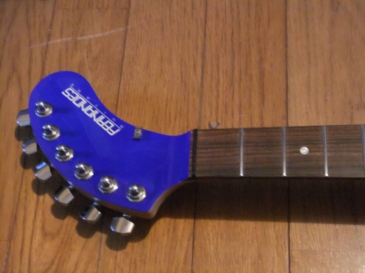 FERNANDES ZO-3 濃青 ブルー 極上! トラベルギター 弾き易さ抜群! メンテ済み! スピーカー内蔵 ミニギター 名機! フェルナンデス 激レア色!_フレットもピカピカ!