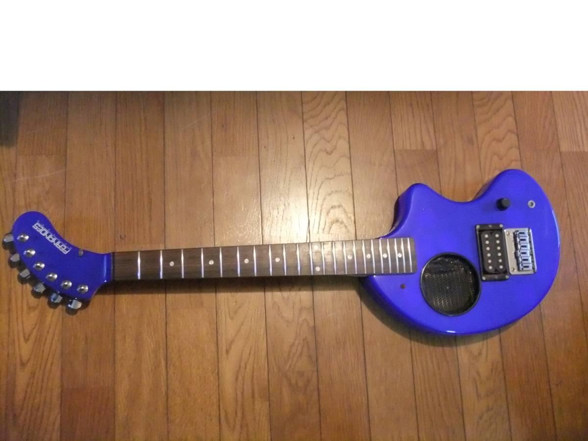 FERNANDES ZO-3 濃青 ブルー 極上! トラベルギター 弾き易さ抜群! メンテ済み! スピーカー内蔵 ミニギター 名機! フェルナンデス 激レア色!_画像3