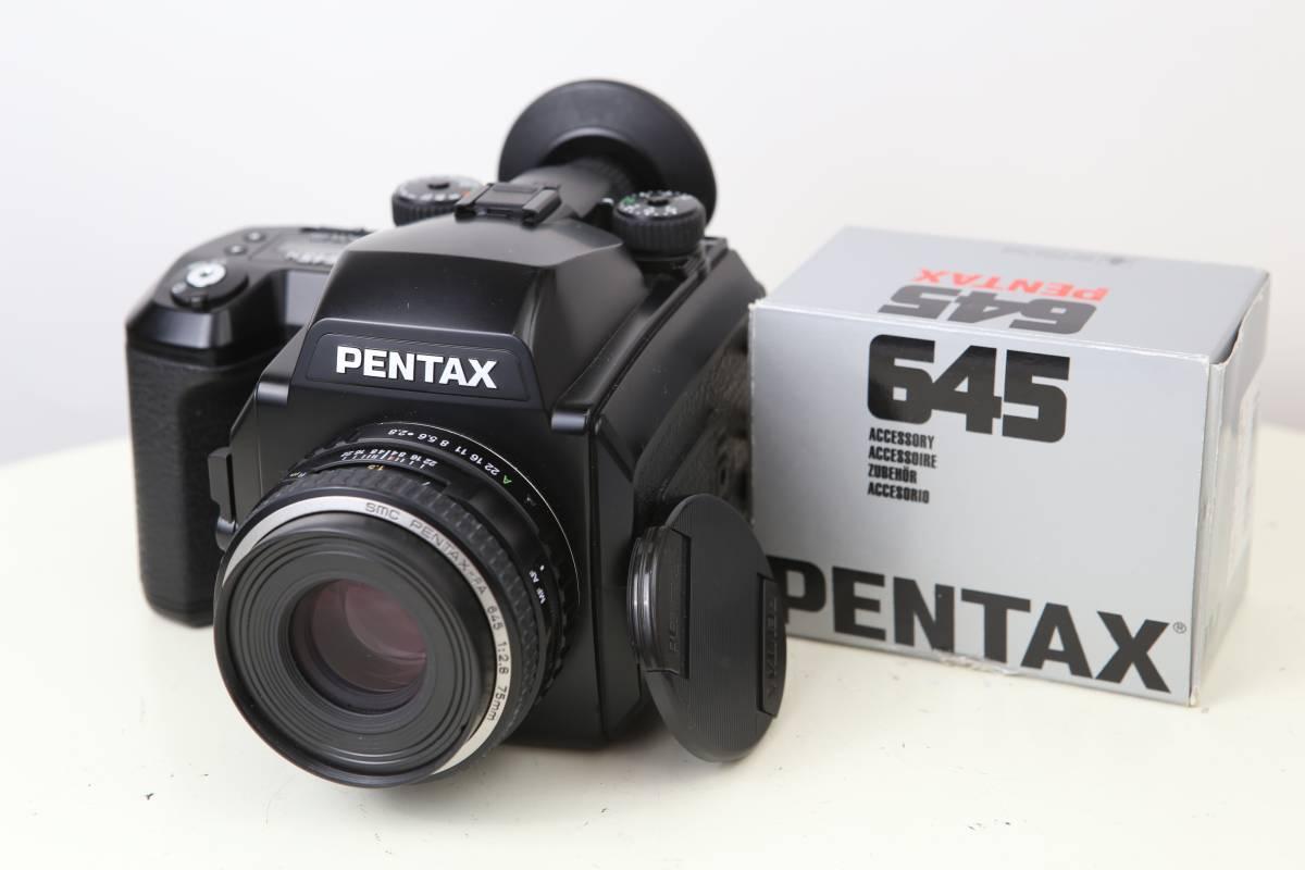④ ペンタックス PENTAX 645N + SMC FA 645 75mm F/2.8 + フィルムバック2個 動作良品!
