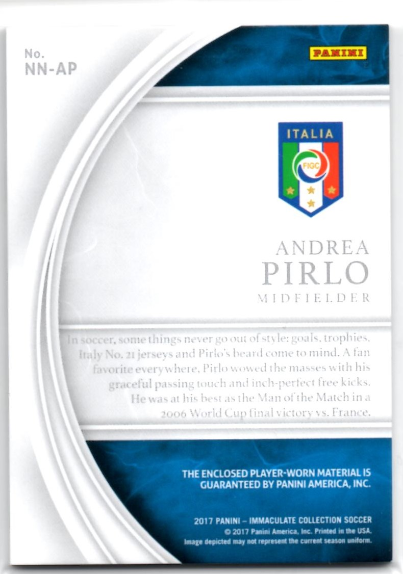 Andrea Pirlo Immaculate Collection NAMEPLATE NOBILITY L no auto 4/5=1/1 イタリア代表_画像2