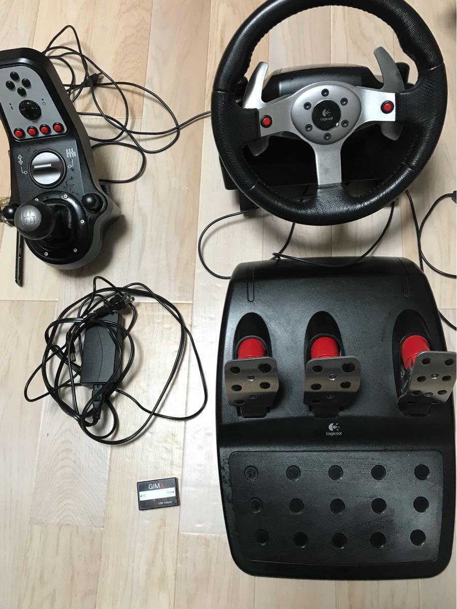 1円スタート!!動作OKジャンク扱い改造品 Logicool ロジクール G25 Racing Wheel GIMXアダプター付き ハンコン