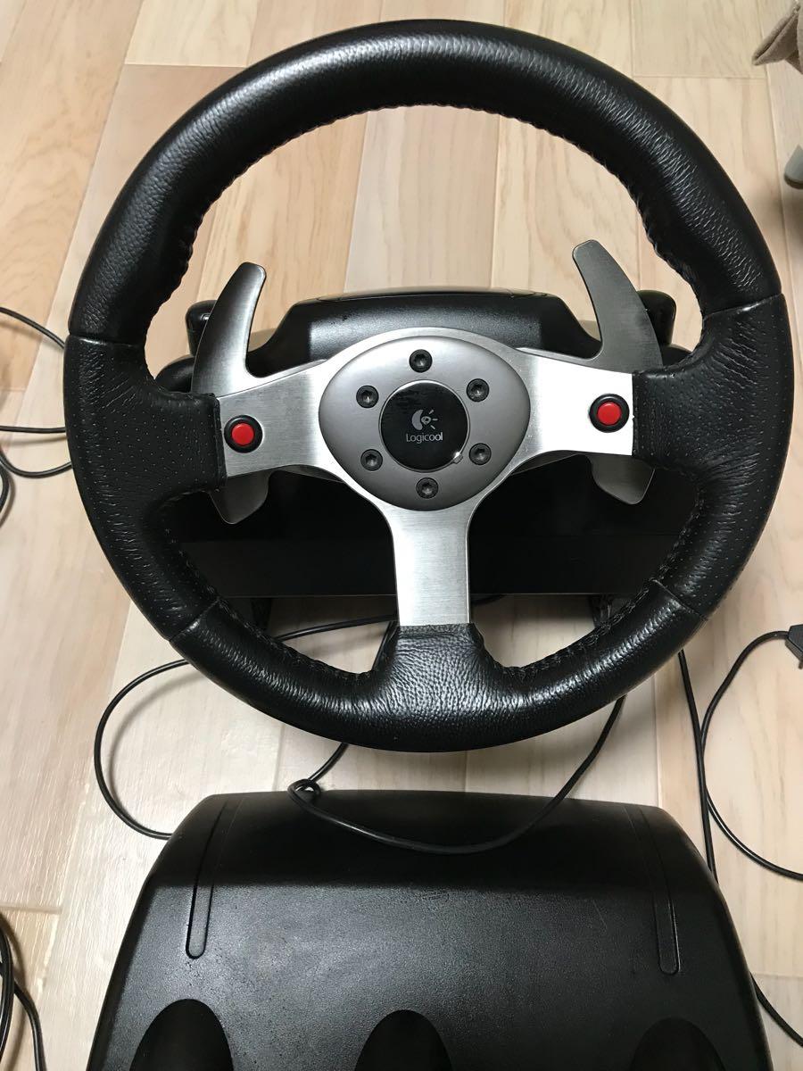 1円スタート!!動作OKジャンク扱い改造品 Logicool ロジクール G25 Racing Wheel GIMXアダプター付き ハンコン_画像2