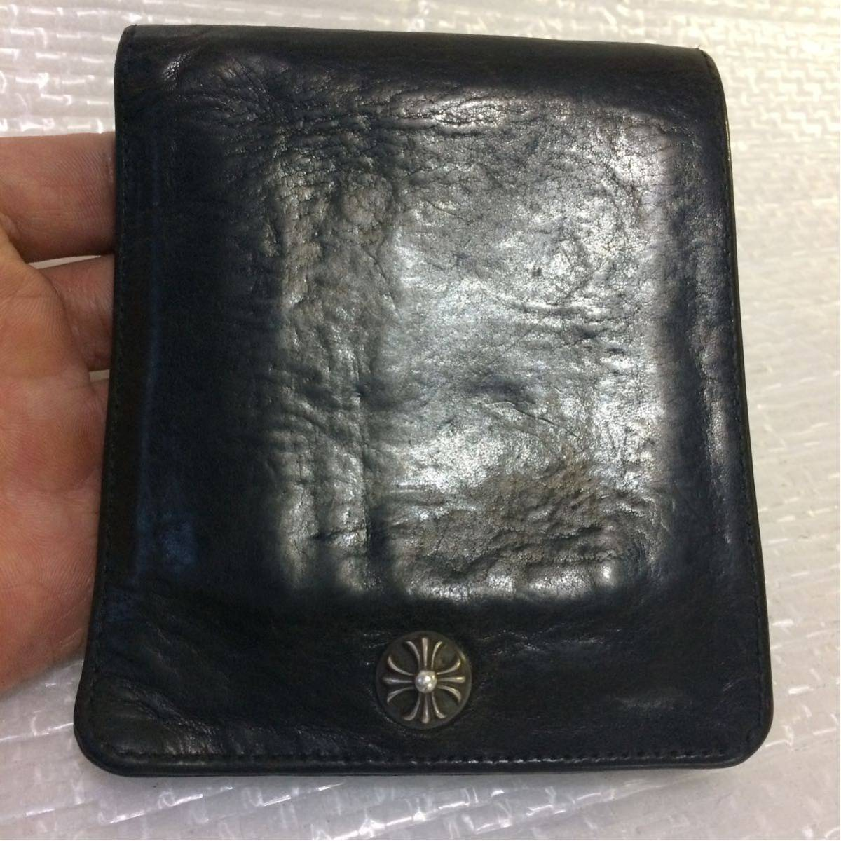 売り切り 正規品 クロムハーツ 1スナップレザーウォレット 二つ折り財布