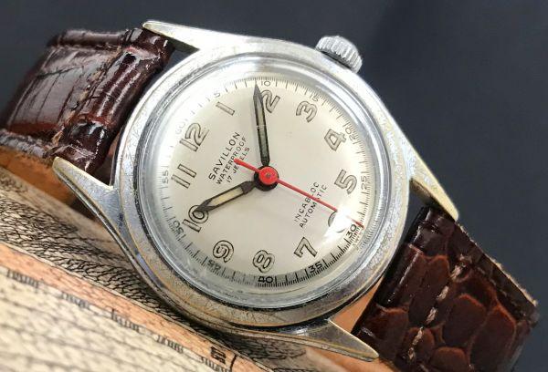 スイスの名門【SAVILLON(サヴィロン)☆by Enica(エニカ)☆ミリタリー】アンティーク 自動巻き メンズ腕時計
