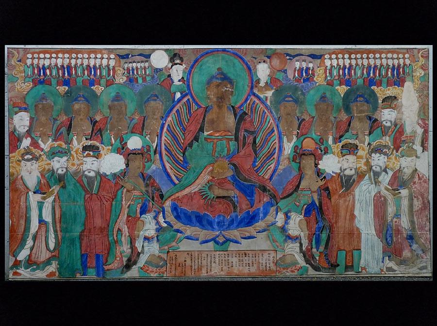 【夢たま】巨大!朝鮮王朝仏画阿弥陀官僚人物図・極彩色密画/朝鮮通信使・絹本・肉筆・