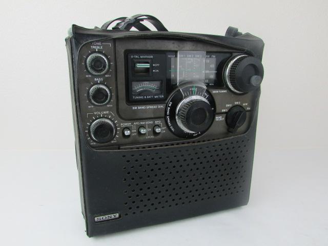 ジャンク・希少・SONY・BCL・ラジオ・スカイセンサー・黒革ケース付・ICF・5900・作動未確認