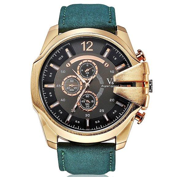 限定希少V-6のクロノグラフ時計(黒緑)   オシアナスエディフィスカシオヴィヴィアンウエストウッドジオモナコテンデンスアイティーエー