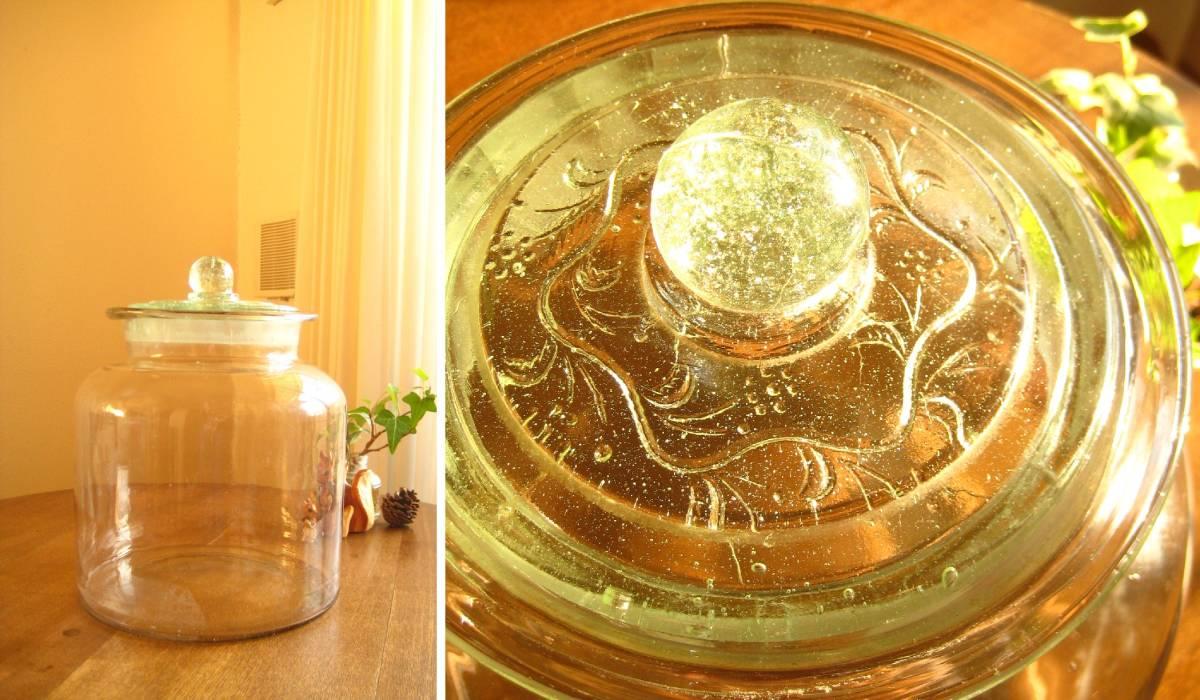 ●戦前*ウランガラス*ぽってりゆらゆらガラス瓶・駄菓子瓶●北欧レトロ古民家カフェ什器保存瓶容器梅干し果実酒ディスプレイ生活雑貨古道具