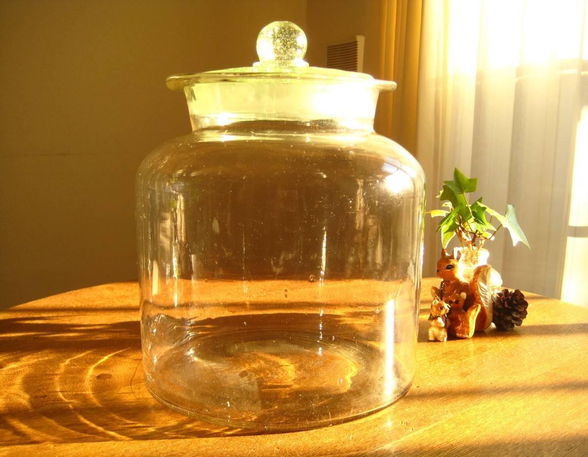 ●戦前*ウランガラス*ぽってりゆらゆらガラス瓶・駄菓子瓶●北欧レトロ古民家カフェ什器保存瓶容器梅干し果実酒ディスプレイ生活雑貨古道具_画像10