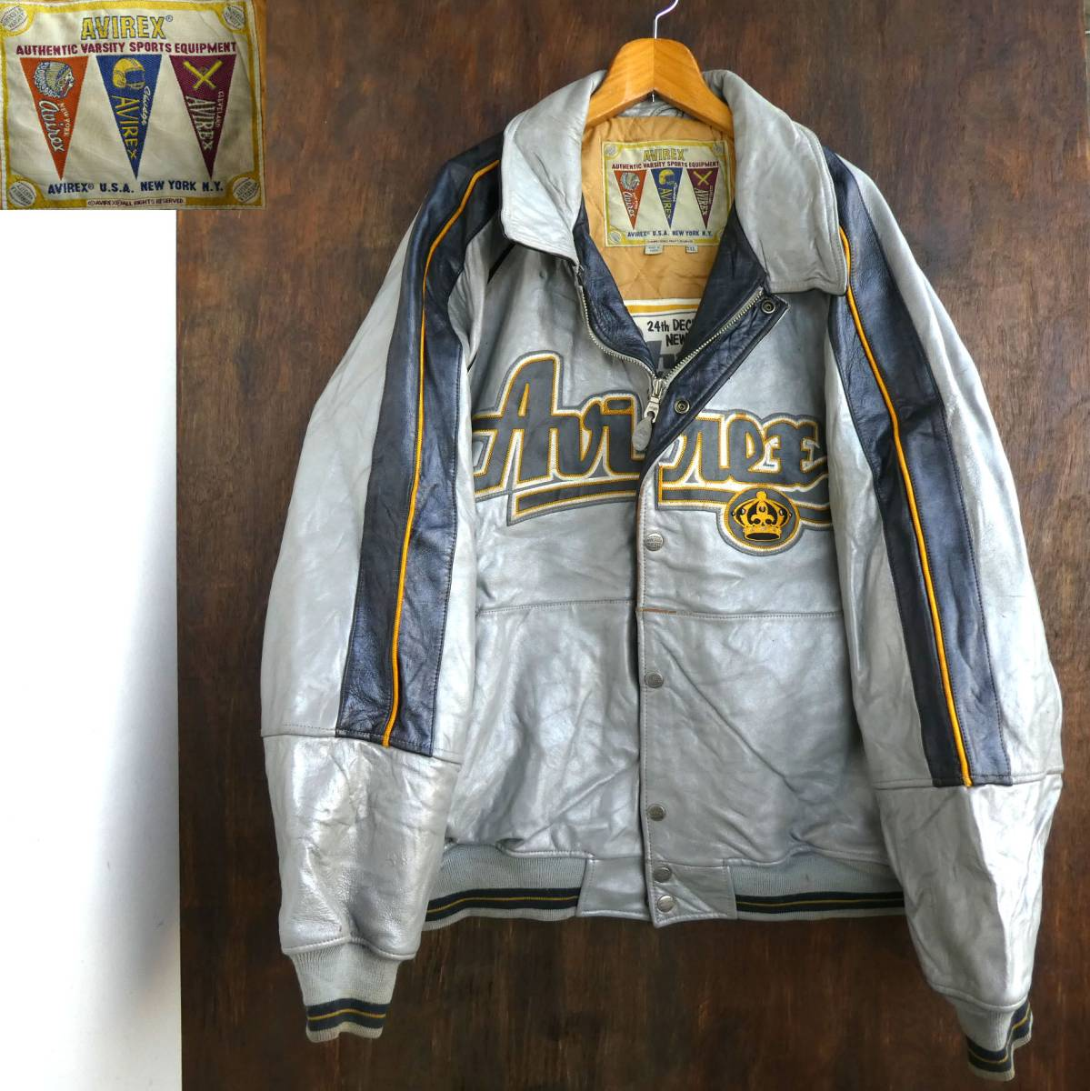 11 112 Avirex Original Leather Stadium Jumper Silver Jaket Hoodie Abslt Jacket Logo Badge Real