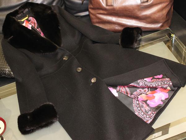 極上品 レオナール 定価766,500円 最高級ミンクファー毛皮襟ピュアシルク裏地ピュアカシ