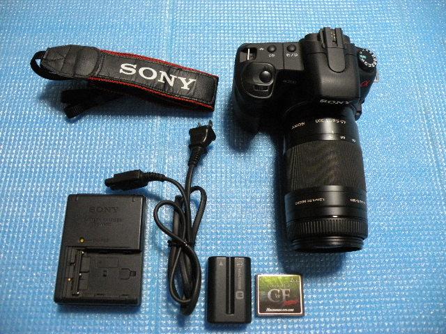 【良品】 SONY ソニー α200 一眼レフ DSLR-A200 レンズセット 4.5-5.6/75-300 CF バッテリ付 BC-VM10 充電器付属 動作OK
