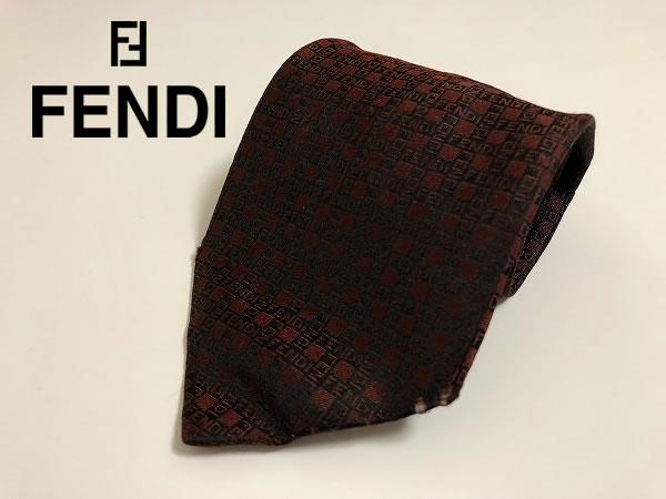 FENDI フェンディ パターン柄 メンズ シルク100% ネクタイ【USED】(C70401)_画像1