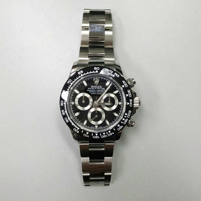 デイトナdaytona 黒腕時計 メンズ 自動巻き 新品クロノ